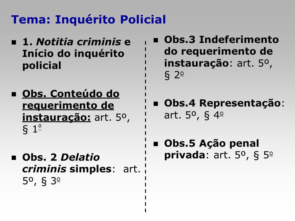 Tema: Inquérito Policial 1. Notitia criminis e Início do inquérito policial Obs. Conteúdo do requerimento de instauração: art. 5º, § 1 º Obs. 2 Delati