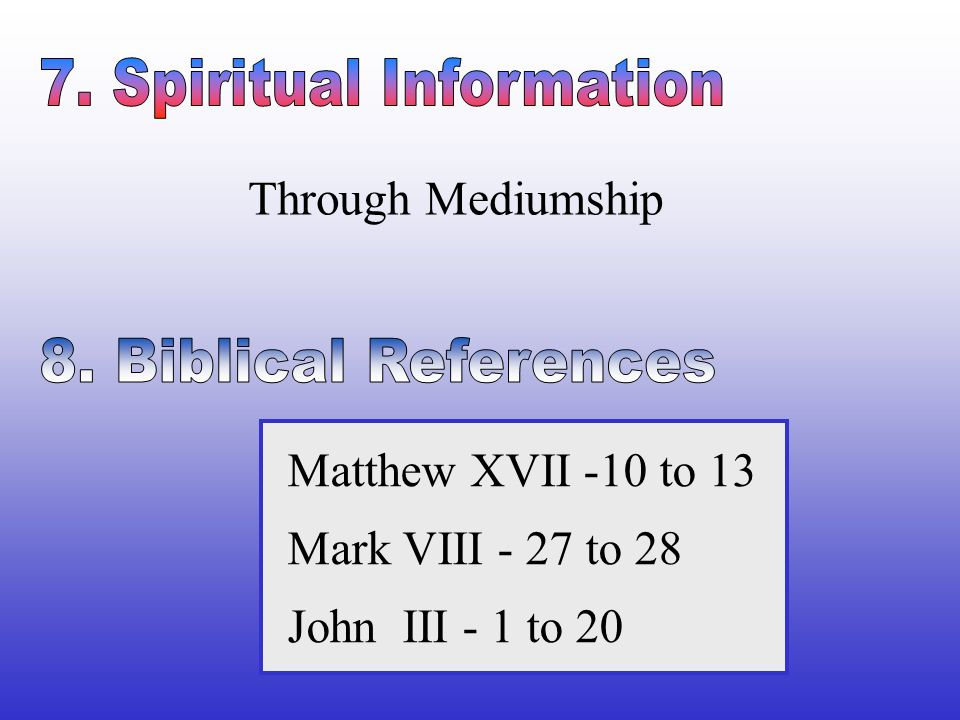 Through Mediumship Matthew XVII -10 to 13 Mark VIII - 27 to 28 John III - 1 to 20
