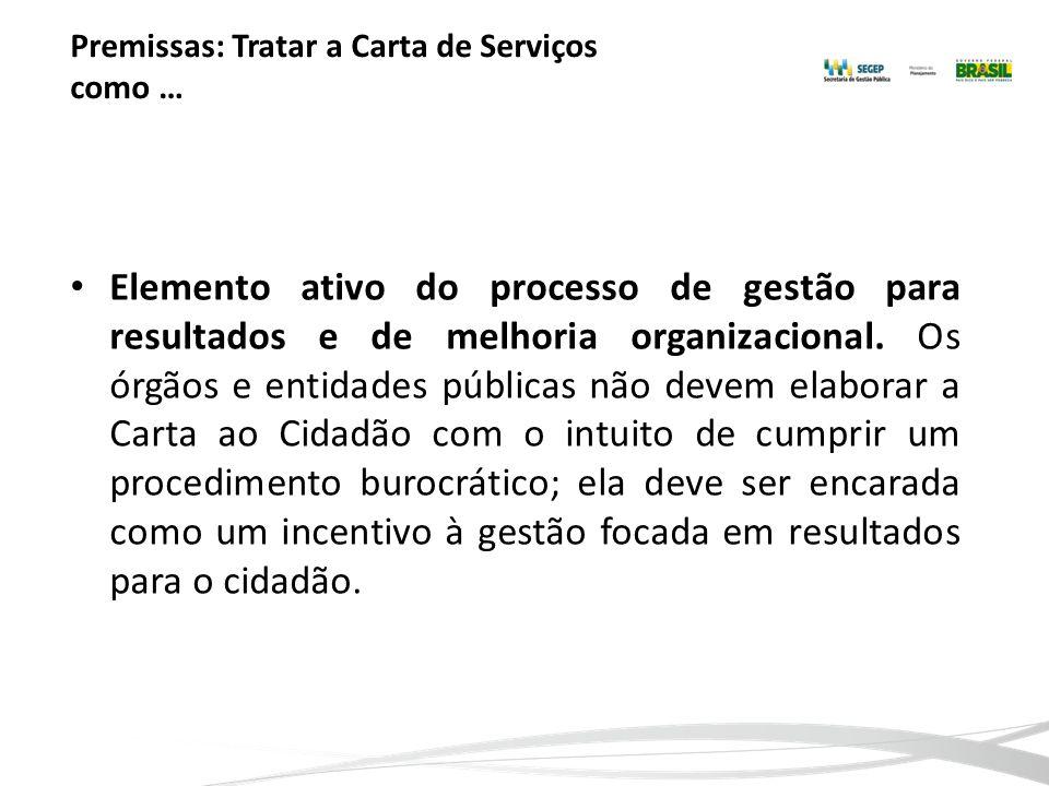 Premissas: Tratar a Carta de Serviços como … Elemento ativo do processo de gestão para resultados e de melhoria organizacional. Os órgãos e entidades