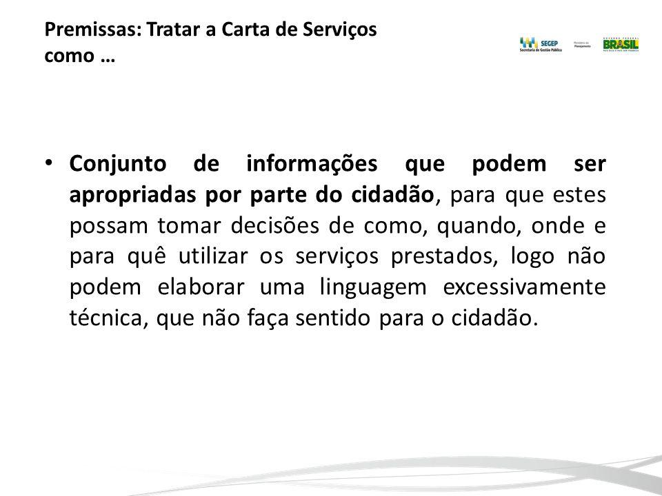 Premissas: Tratar a Carta de Serviços como … Conjunto de informações que podem ser apropriadas por parte do cidadão, para que estes possam tomar decis