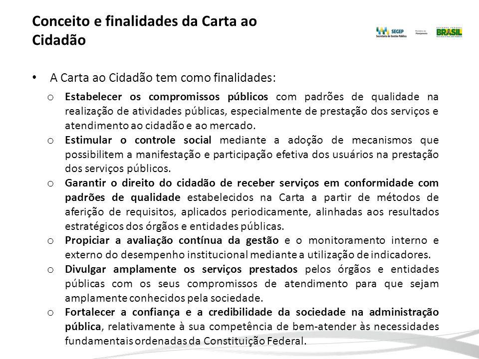 Conceito e finalidades da Carta ao Cidadão A Carta ao Cidadão tem como finalidades: o Estabelecer os compromissos públicos com padrões de qualidade na