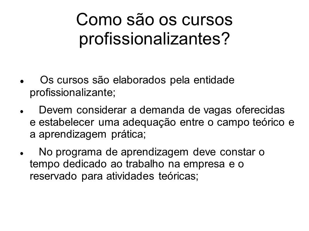 Como são os cursos profissionalizantes? Os cursos são elaborados pela entidade profissionalizante; Devem considerar a demanda de vagas oferecidas e es
