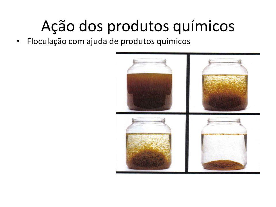 Ação dos produtos químicos Floculação com ajuda de produtos químicos