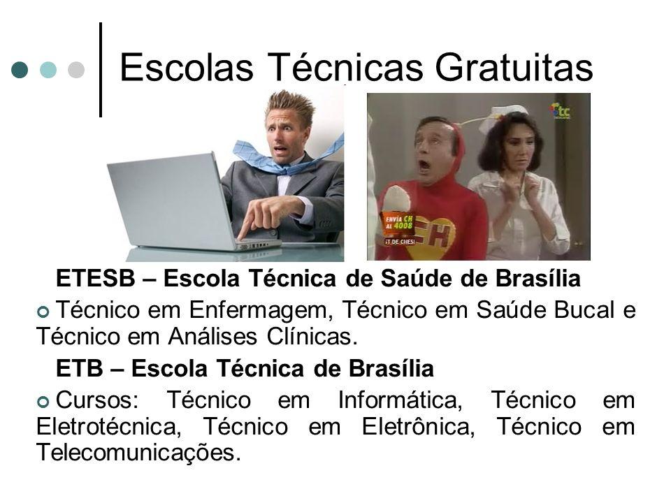 Escolas Técnicas Gratuitas ETESB – Escola Técnica de Saúde de Brasília Técnico em Enfermagem, Técnico em Saúde Bucal e Técnico em Análises Clínicas. E