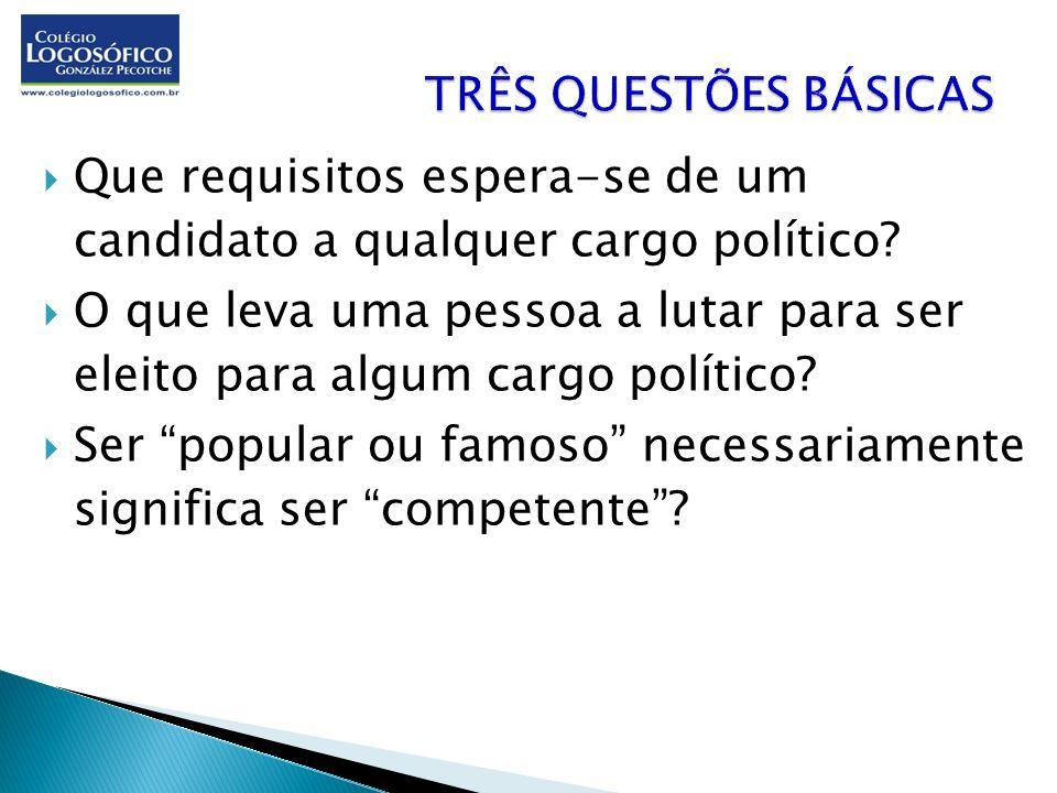 Que requisitos espera-se de um candidato a qualquer cargo político? O que leva uma pessoa a lutar para ser eleito para algum cargo político? Ser popul