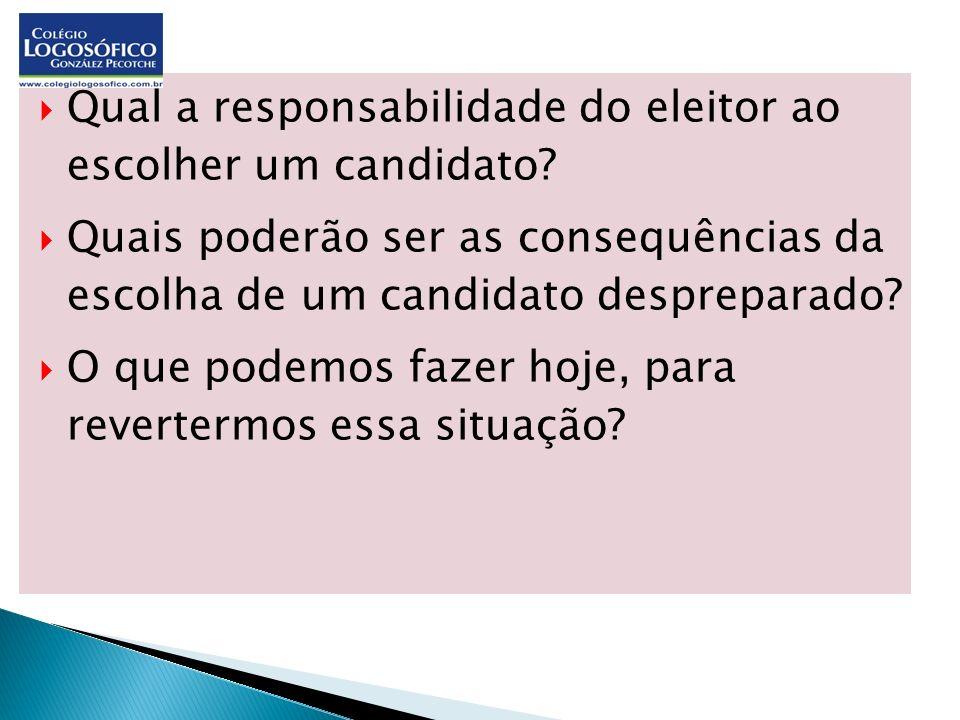 Qual a responsabilidade do eleitor ao escolher um candidato? Quais poderão ser as consequências da escolha de um candidato despreparado? O que podemos