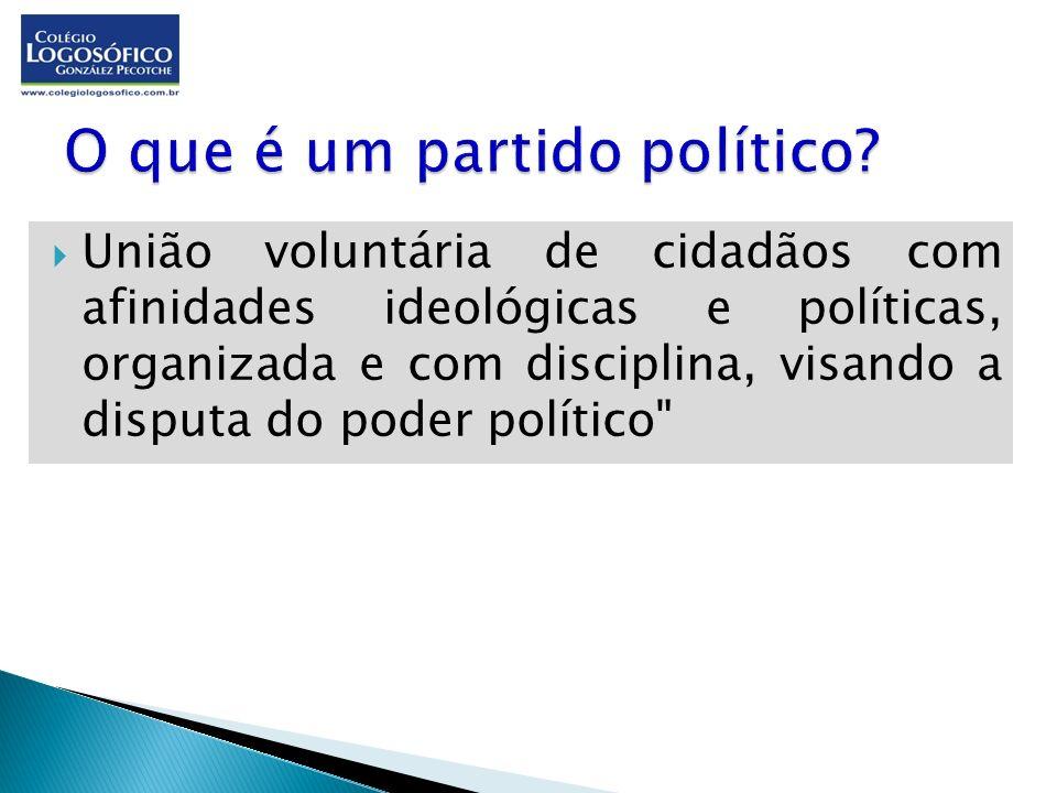União voluntária de cidadãos com afinidades ideológicas e políticas, organizada e com disciplina, visando a disputa do poder político