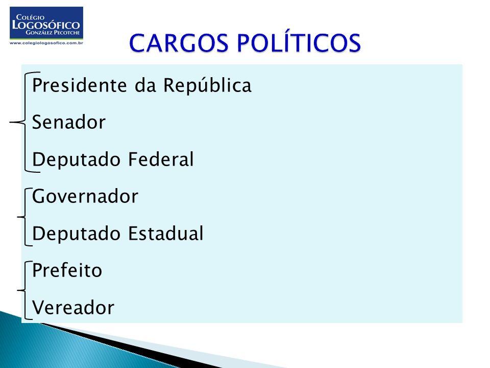Presidente da República Senador Deputado Federal Governador Deputado Estadual Prefeito Vereador