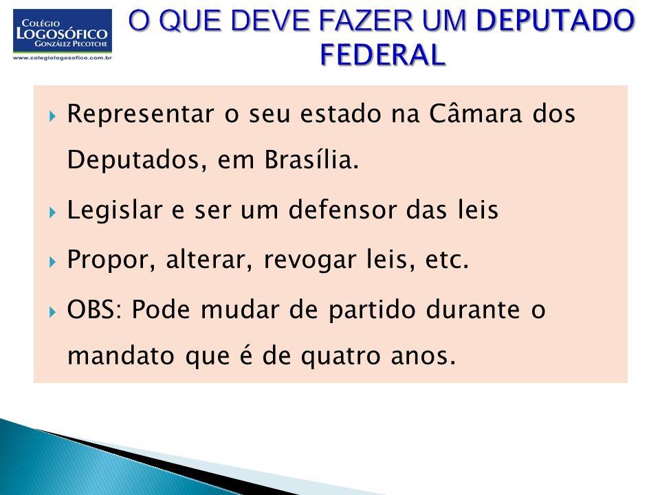Representar o seu estado na Câmara dos Deputados, em Brasília. Legislar e ser um defensor das leis Propor, alterar, revogar leis, etc. OBS: Pode mudar