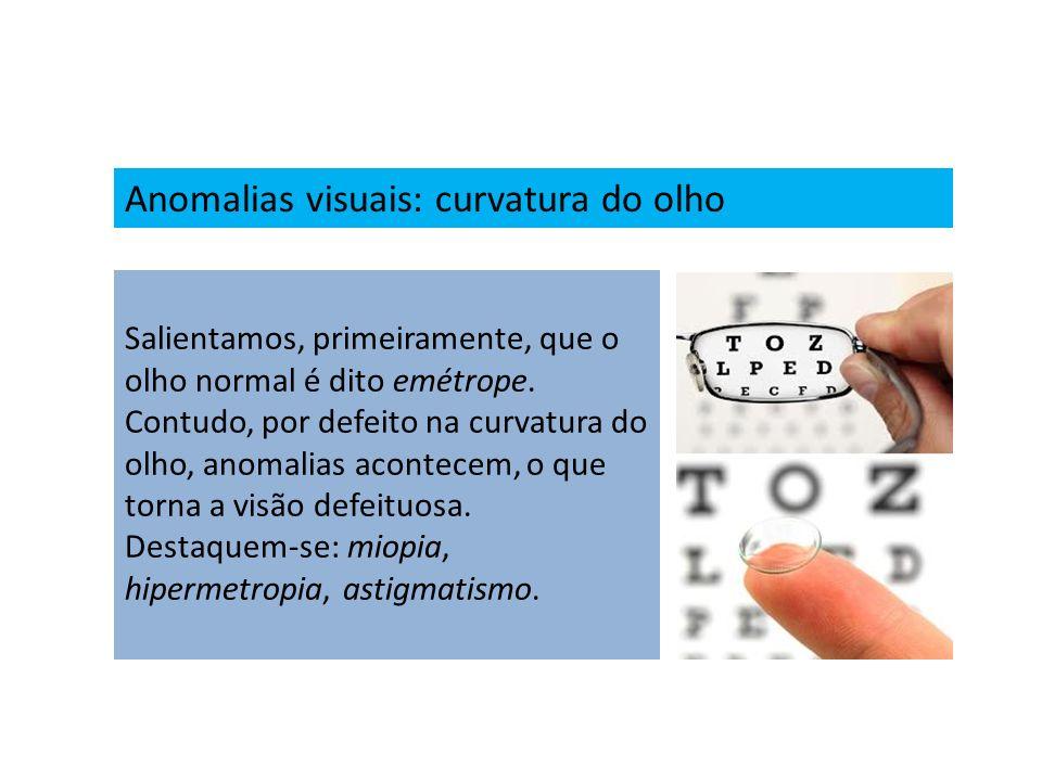 Anomalias visuais: curvatura do olho Salientamos, primeiramente, que o olho normal é dito emétrope. Contudo, por defeito na curvatura do olho, anomali