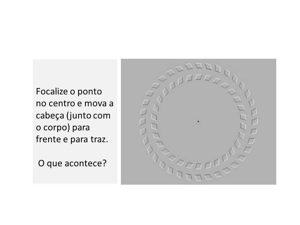 Focalize o ponto no centro e mova a cabeça (junto com o corpo) para frente e para traz. O que acontece?