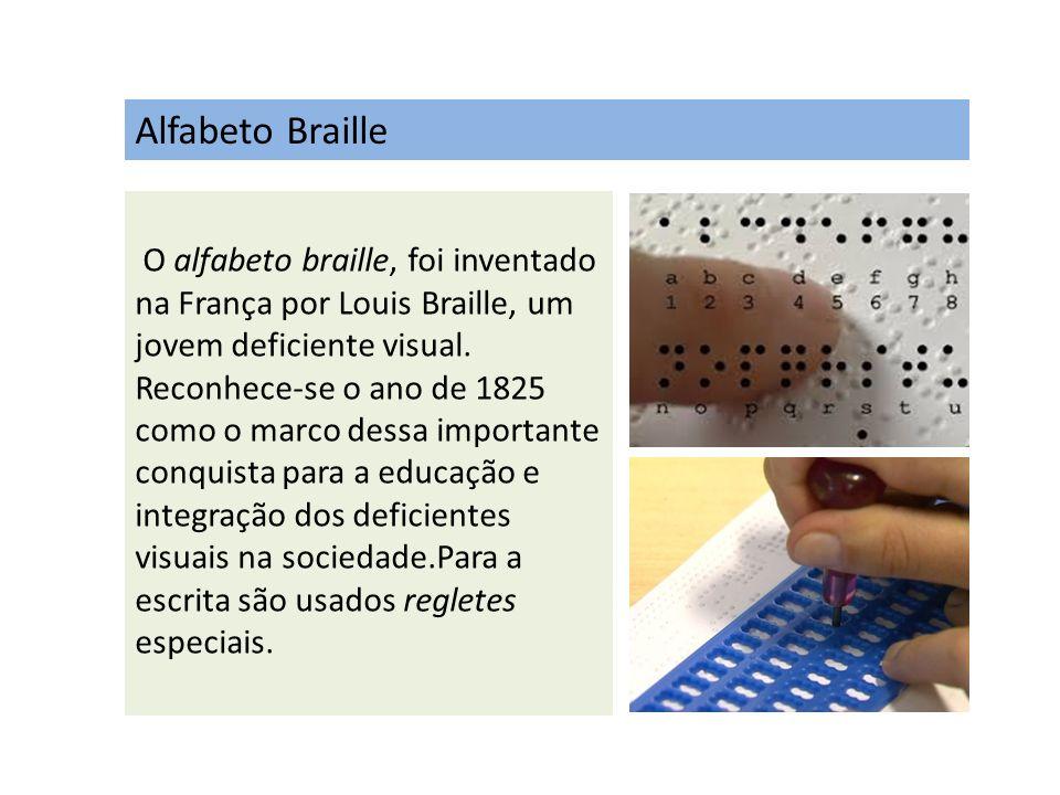 Alfabeto Braille O alfabeto braille, foi inventado na França por Louis Braille, um jovem deficiente visual. Reconhece-se o ano de 1825 como o marco de