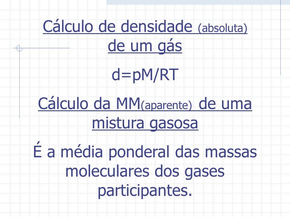 Volume parcial É o V que um gás A,participante de uma mistura de gases, teria se estivesse sozinho e sob as mesmas condições de T e P da mistura. Equa