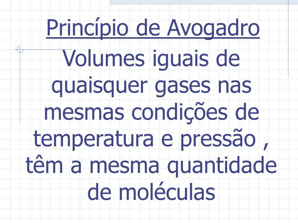 Efusão e Difusão Quanto menor a massa molar do gás,maior será sua velocidade de efusão e difusão. v a /v b = M b /M a = d b /d a Densidade relativa