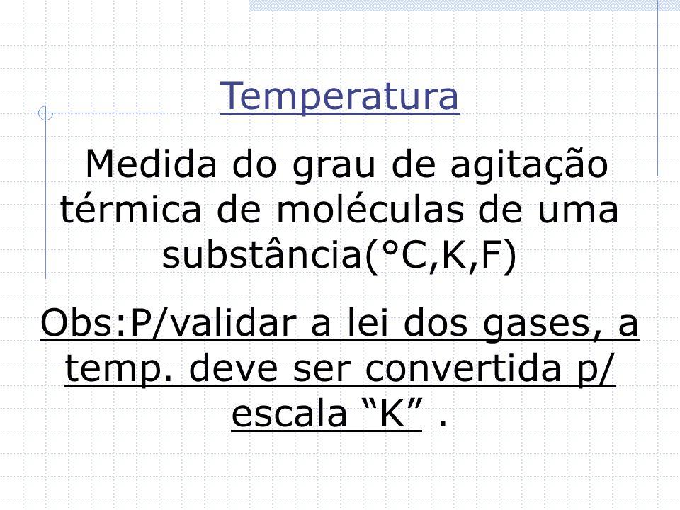 Temperatura Medida do grau de agitação térmica de moléculas de uma substância(°C,K,F) Obs:P/validar a lei dos gases, a temp.