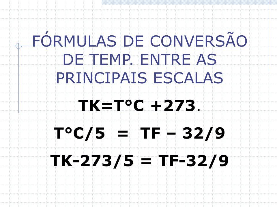 FÓRMULAS DE CONVERSÃO DE TEMP.ENTRE AS PRINCIPAIS ESCALAS TK=T°C +273.