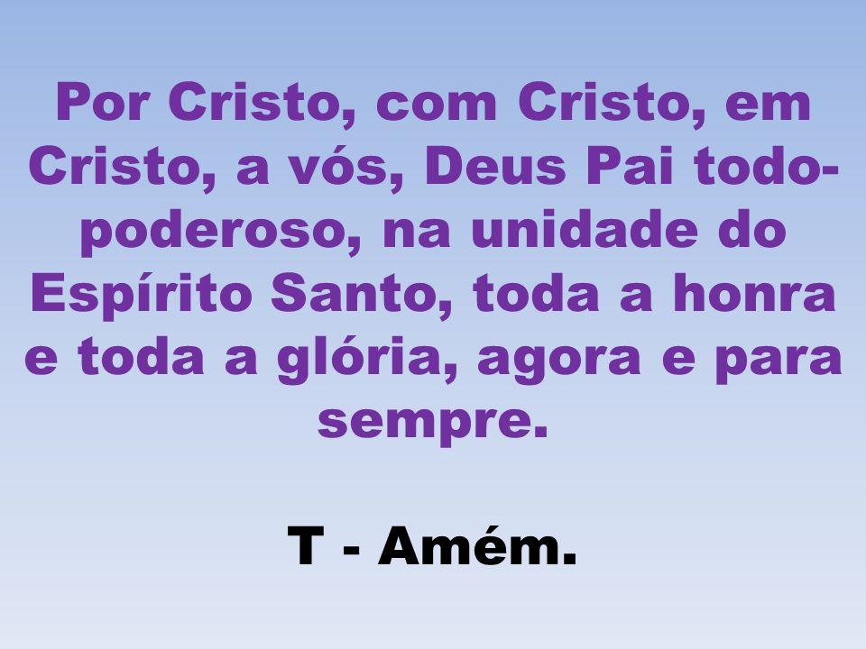 Por Cristo, com Cristo, em Cristo, a vós, Deus Pai todo- poderoso, na unidade do Espírito Santo, toda a honra e toda a glória, agora e para sempre. T