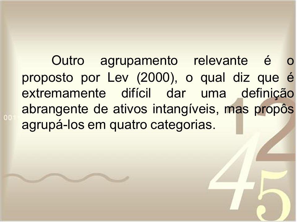 Outro agrupamento relevante é o proposto por Lev (2000), o qual diz que é extremamente difícil dar uma definição abrangente de ativos intangíveis, mas