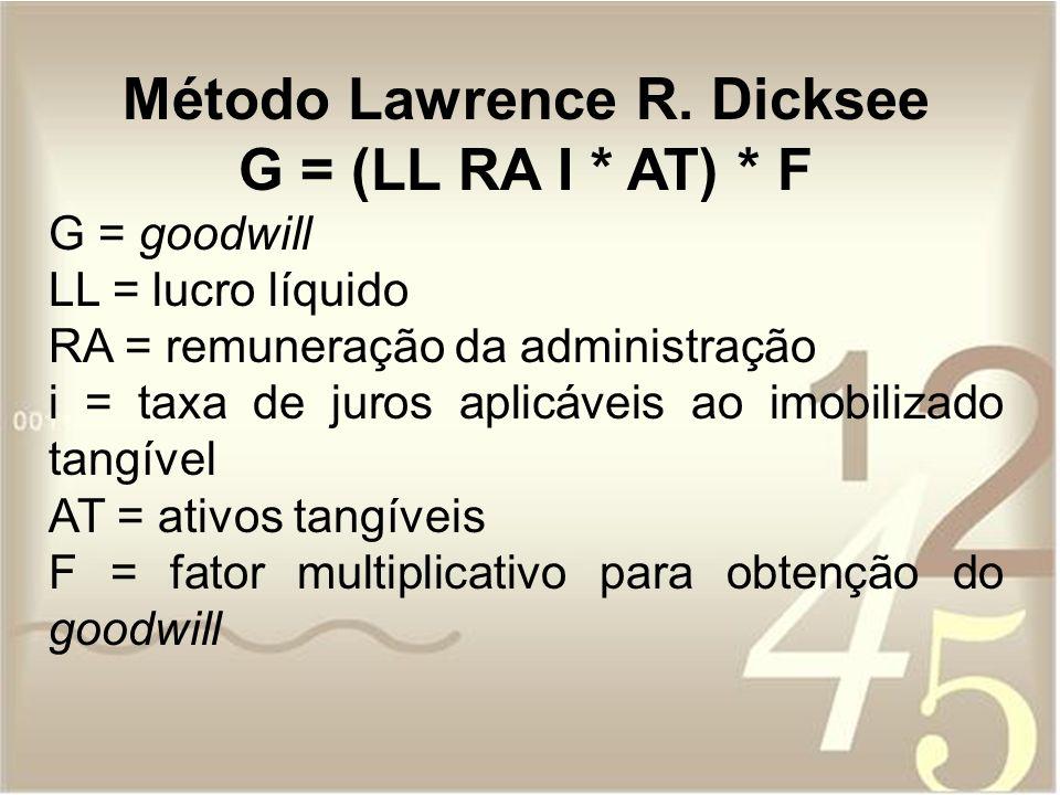 Método Lawrence R. Dicksee G = (LL RA I * AT) * F G = goodwill LL = lucro líquido RA = remuneração da administração i = taxa de juros aplicáveis ao im