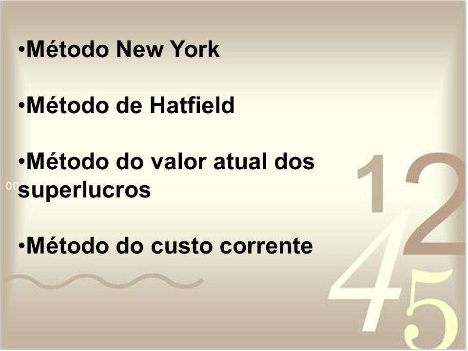 Método New York Método de Hatfield Método do valor atual dos superlucros Método do custo corrente
