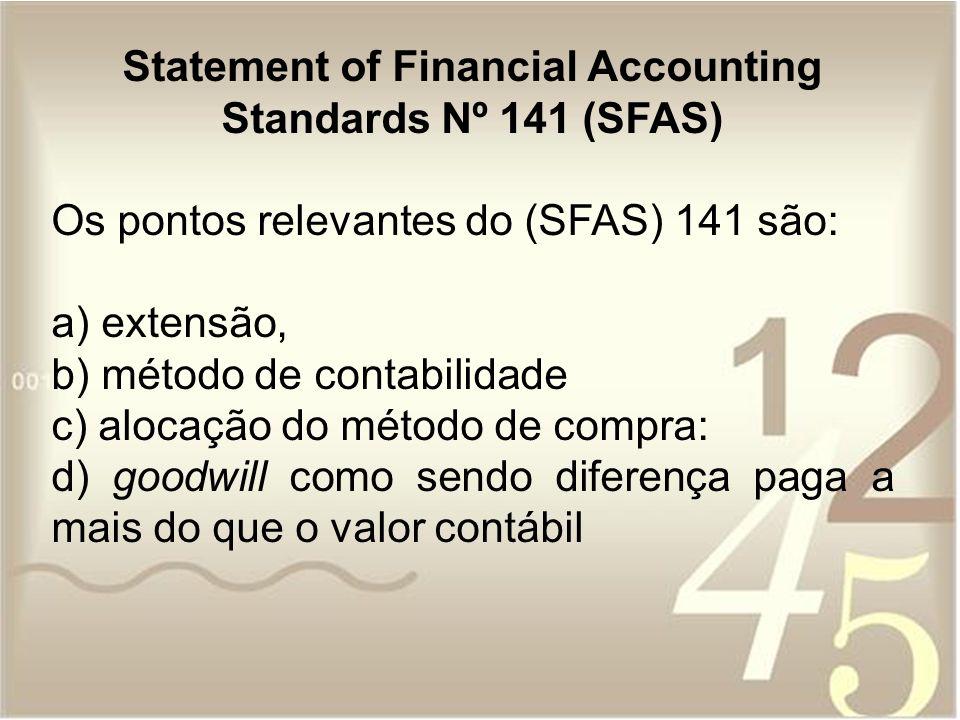Statement of Financial Accounting Standards Nº 141 (SFAS) Os pontos relevantes do (SFAS) 141 são: a) extensão, b) método de contabilidade c) alocação