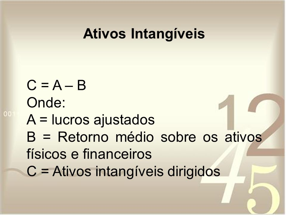 Ativos Intangíveis C = A – B Onde: A = lucros ajustados B = Retorno médio sobre os ativos físicos e financeiros C = Ativos intangíveis dirigidos