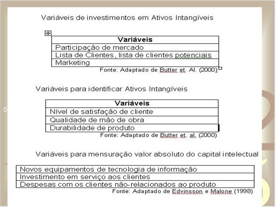 Com o objetivo de buscar a mensuração de ativos intangíveis, é necessário visualizar o agrupamento dos ativos do conhecimento, buscando identificar a agregação de valor e possíveis vantagens competitivas.