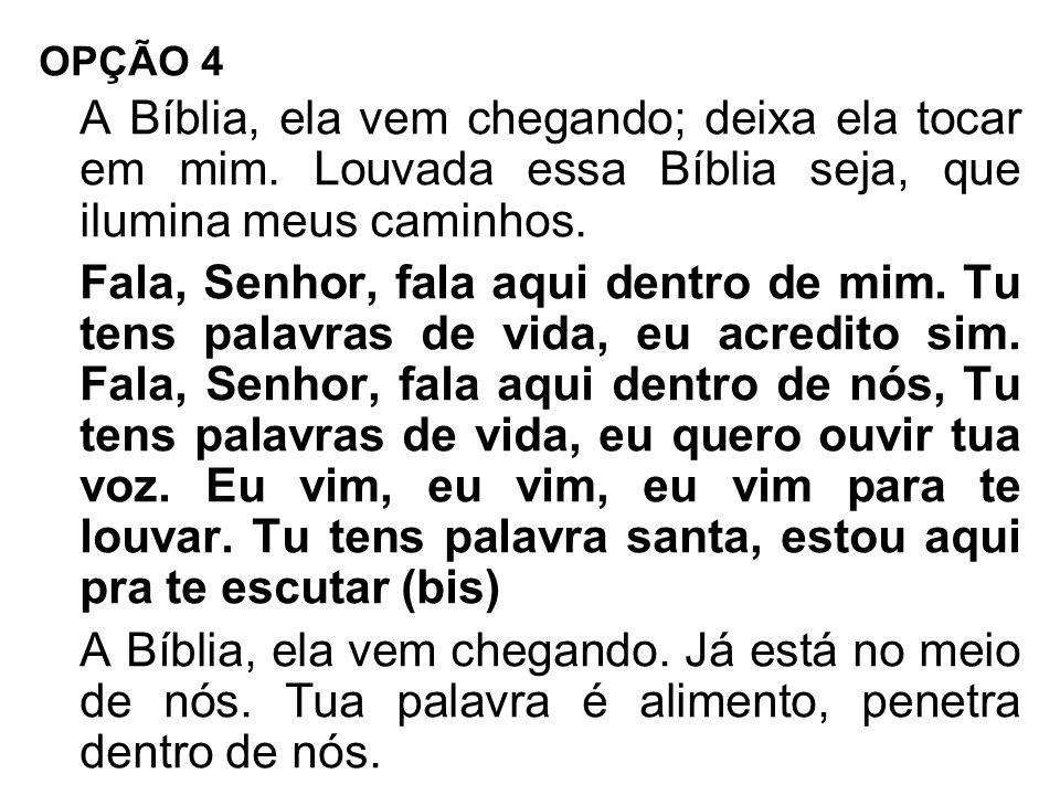 OPÇÃO 4 A Bíblia, ela vem chegando; deixa ela tocar em mim. Louvada essa Bíblia seja, que ilumina meus caminhos. Fala, Senhor, fala aqui dentro de mim