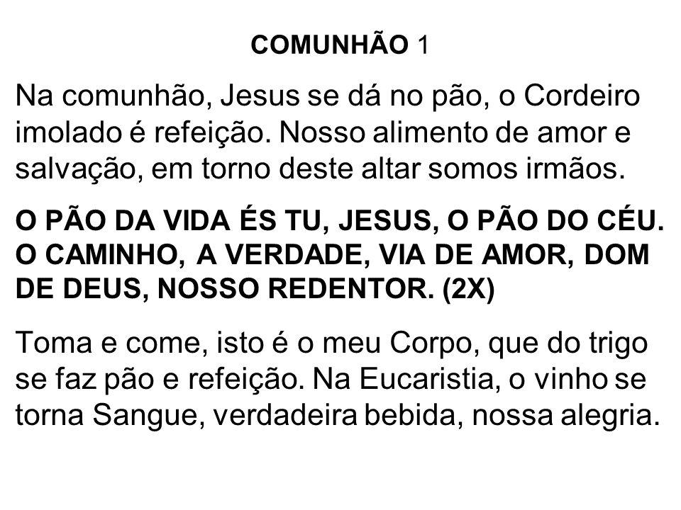 COMUNHÃO 1 Na comunhão, Jesus se dá no pão, o Cordeiro imolado é refeição. Nosso alimento de amor e salvação, em torno deste altar somos irmãos. O PÃO