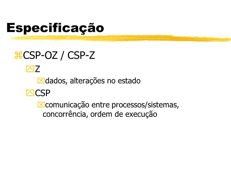 Especificação zCSP-OZ / CSP-Z yZ xdados, alterações no estado yCSP xcomunicação entre processos/sistemas, concorrência, ordem de execução