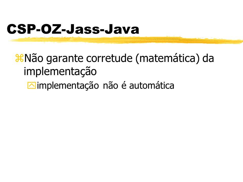 zNão garante corretude (matemática) da implementação yimplementação não é automática CSP-OZ-Jass-Java