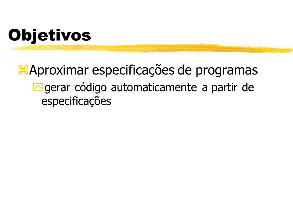 Objetivos zAproximar especificações de programas ygerar código automaticamente a partir de especificações