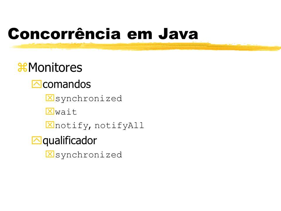 Concorrência em Java zMonitores ycomandos synchronized wait notify, notifyAll yqualificador xsynchronized