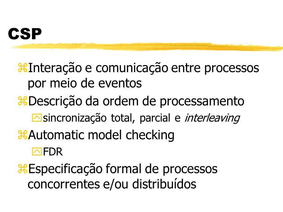 CSP zInteração e comunicação entre processos por meio de eventos zDescrição da ordem de processamento ysincronização total, parcial e interleaving zAu