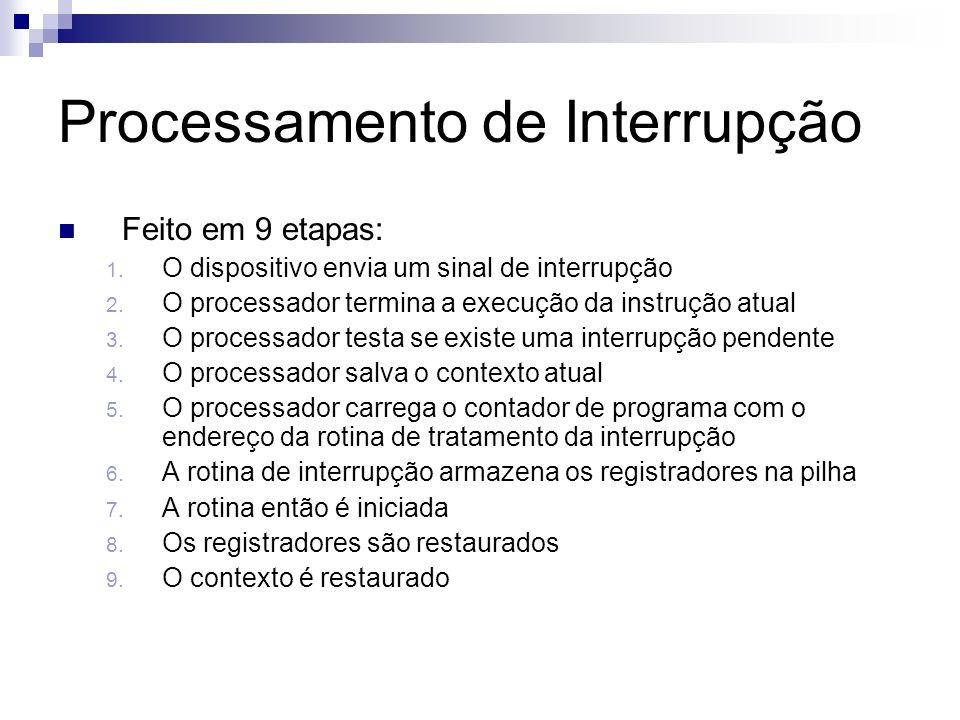 Processamento de Interrupção Feito em 9 etapas: 1. O dispositivo envia um sinal de interrupção 2. O processador termina a execução da instrução atual