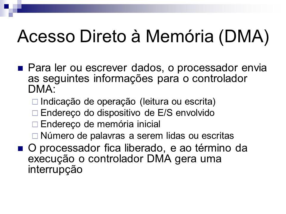 Acesso Direto à Memória (DMA) Para ler ou escrever dados, o processador envia as seguintes informações para o controlador DMA: Indicação de operação (