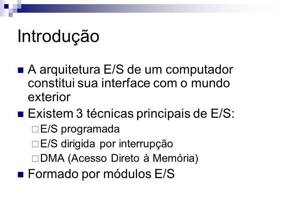 Introdução A arquitetura E/S de um computador constitui sua interface com o mundo exterior Existem 3 técnicas principais de E/S: E/S programada E/S di