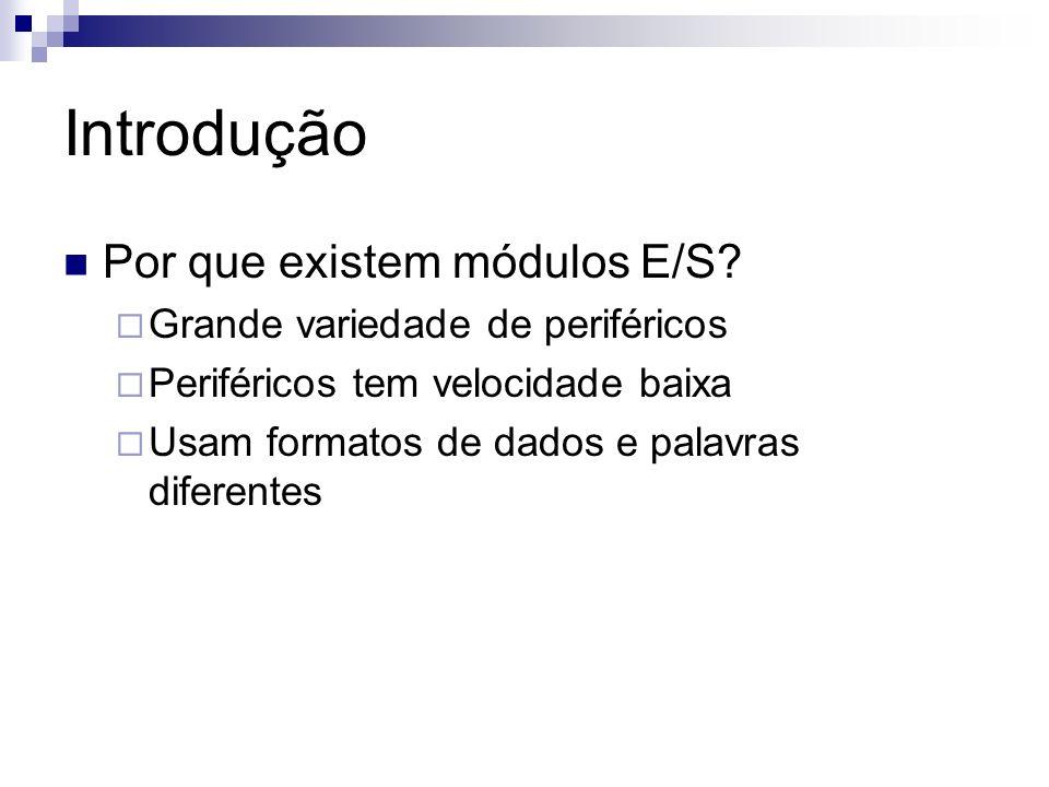 Introdução Por que existem módulos E/S? Grande variedade de periféricos Periféricos tem velocidade baixa Usam formatos de dados e palavras diferentes