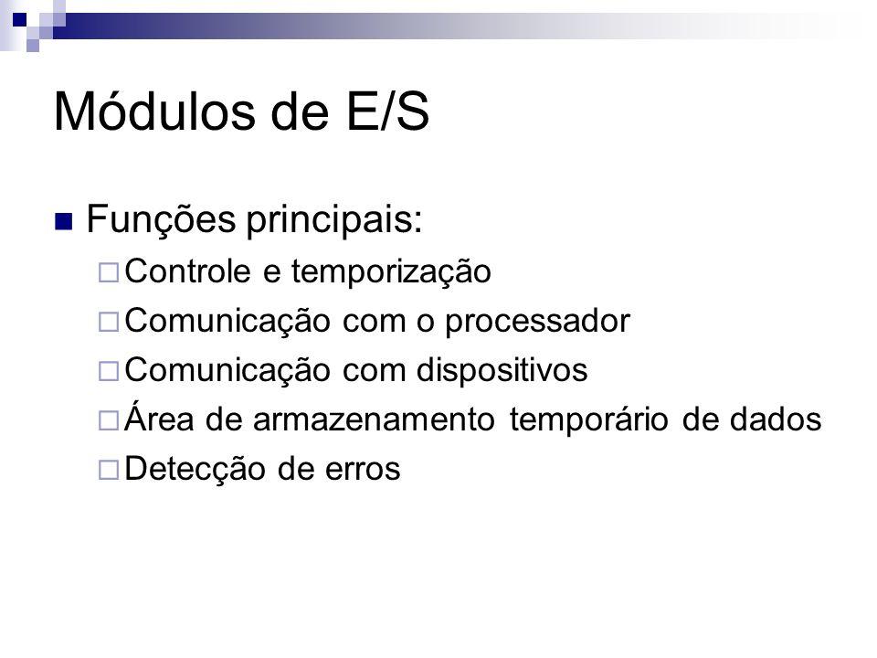 Módulos de E/S Funções principais: Controle e temporização Comunicação com o processador Comunicação com dispositivos Área de armazenamento temporário