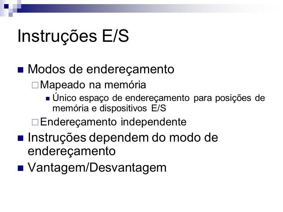 Instruções E/S Modos de endereçamento Mapeado na memória Único espaço de endereçamento para posições de memória e dispositivos E/S Endereçamento indep