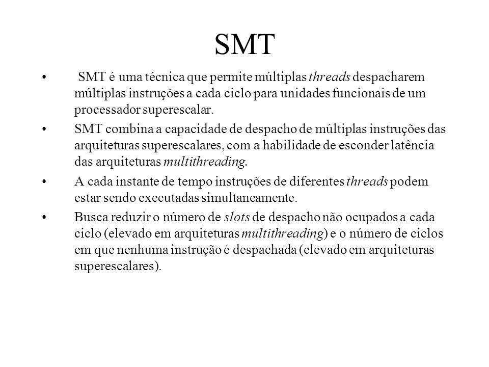 SMT SMT é uma técnica que permite múltiplas threads despacharem múltiplas instruções a cada ciclo para unidades funcionais de um processador superesca