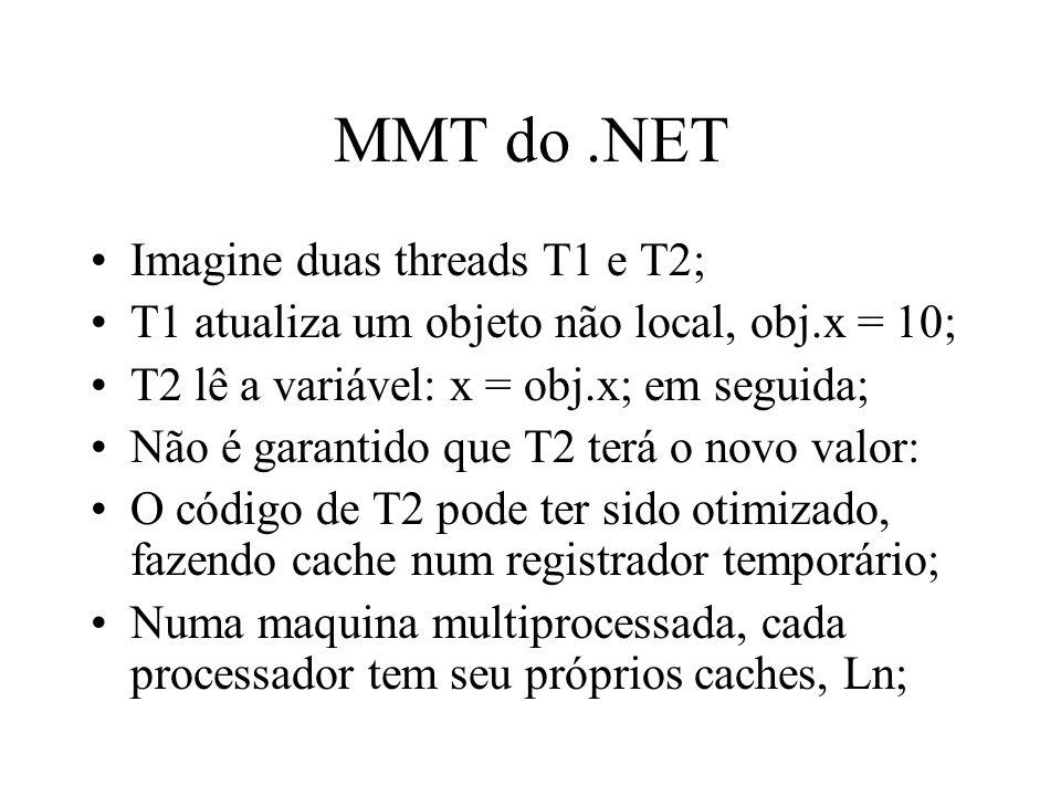 MMT do.NET Imagine duas threads T1 e T2; T1 atualiza um objeto não local, obj.x = 10; T2 lê a variável: x = obj.x; em seguida; Não é garantido que T2