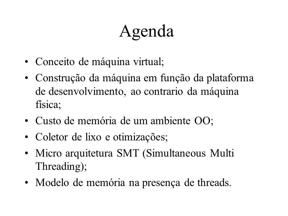 Agenda Conceito de máquina virtual; Construção da máquina em função da plataforma de desenvolvimento, ao contrario da máquina física; Custo de memória