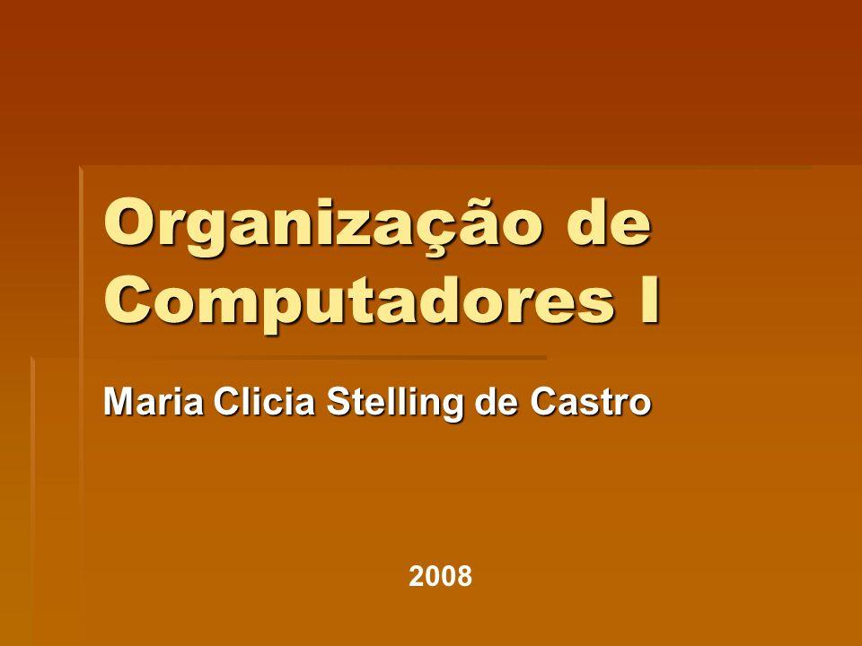 Organização de Computadores I Maria Clicia Stelling de Castro 2008