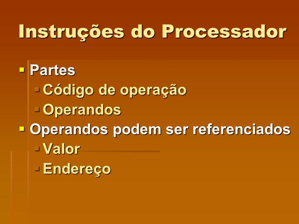 Instruções do Processador Partes Partes Código de operação Código de operação Operandos Operandos Operandos podem ser referenciados Operandos podem se