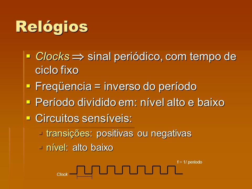 Relógios Clocks sinal periódico, com tempo de ciclo fixo Clocks sinal periódico, com tempo de ciclo fixo Freqüencia = inverso do período Freqüencia =