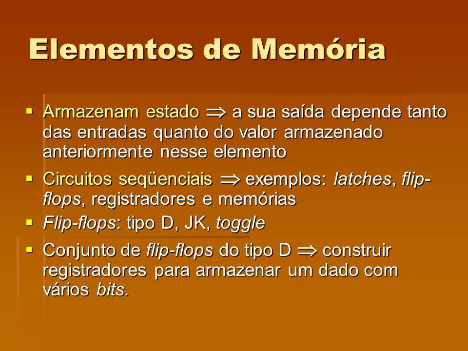 Elementos de Memória Armazenam estado a sua saída depende tanto das entradas quanto do valor armazenado anteriormente nesse elemento Armazenam estado