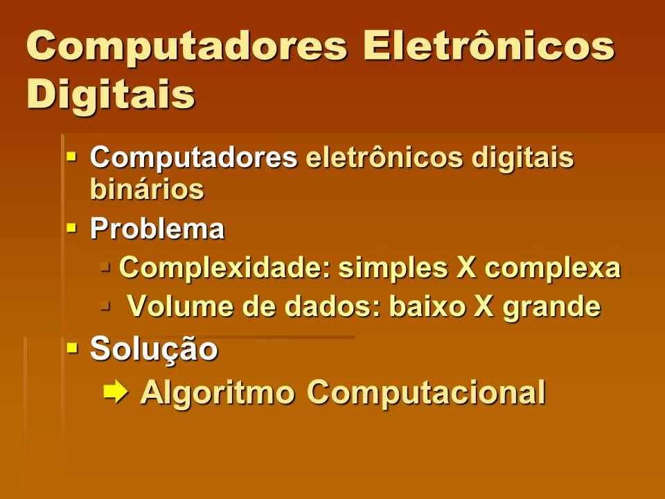 Computadores Eletrônicos Digitais Computadores eletrônicos digitais binários Computadores eletrônicos digitais binários Problema Problema Complexidade