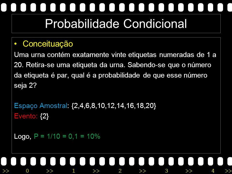>>0 >>1 >> 2 >> 3 >> 4 >> Probabilidade Condicional Conceituação Uma urna contém exatamente vinte etiquetas numeradas de 1 a 20.