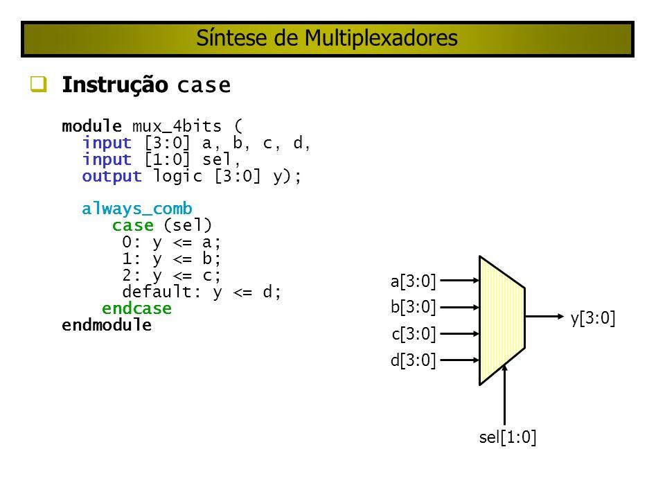 Síntese de Multiplexadores Instrução case module mux_4bits ( input [3:0] a, b, c, d, input [1:0] sel, output logic [3:0] y); always_comb case (sel) 0: y <= a; 1: y <= b; 2: y <= c; default: y <= d; endcase endmodule sel[1:0] a[3:0] y[3:0] b[3:0] c[3:0] d[3:0]
